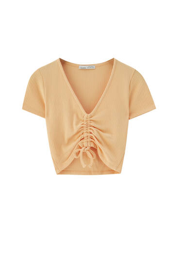Ribbed cropped T-shirt with V-neck