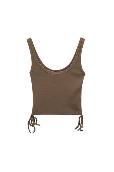 Strappy top with gathered sides - ecologically grown cotton (at least 50%)