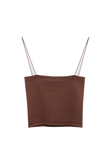 Basic, kort top med tynde stropper