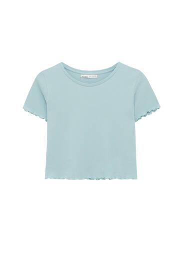 Basic fijn geruit T-shirt met geschulpte biezen