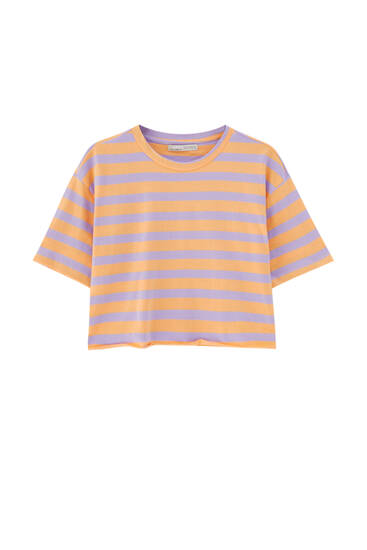 Cropped striped T-shirt with piped seams