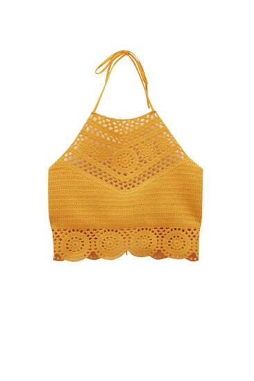 Orange halter crochet top