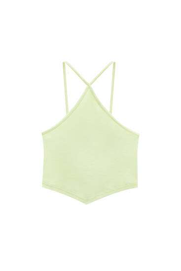 V-neck halter crop top - ecologically grown cotton (at least 95%)