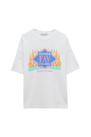 Camiseta blanca llamas