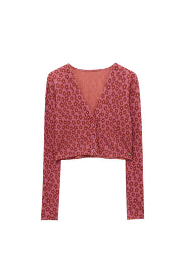 Floral print top with buttons