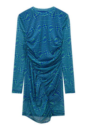 Коротка тюлева сукня з довгими рукавами