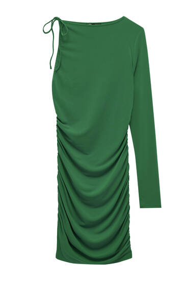 Asymmetric dress with gathered details