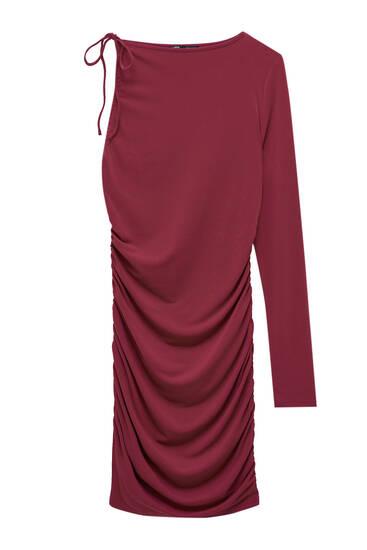 Robe courte asymétrique fronces