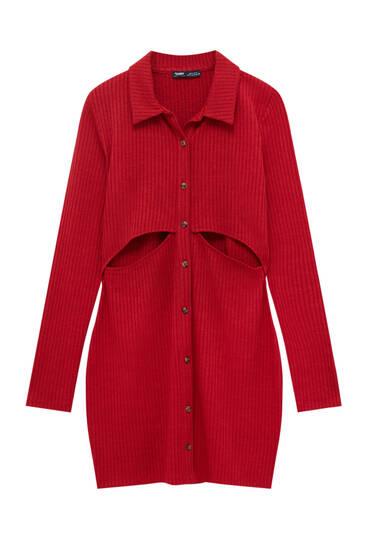 Robe courte découpée tissu chiné
