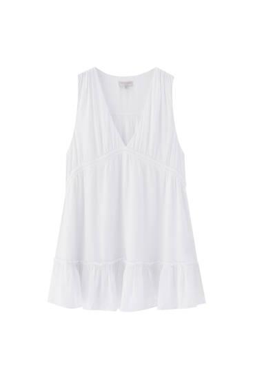 Vestido mini em crepe com decote em bico - 100% ECOVEROTM de viscose
