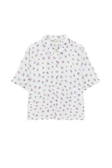Flowing short sleeve floral shirt