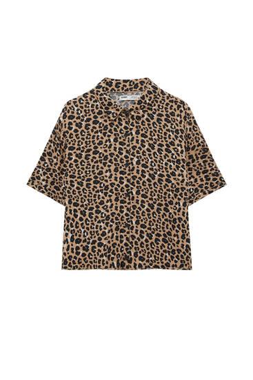 Animal print short sleeve shirt