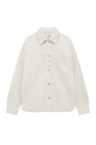 Corduroy overshirt with frayed hem