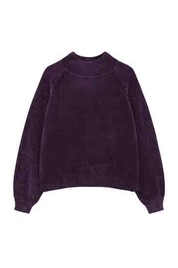 Chenille trui met hoge kraag