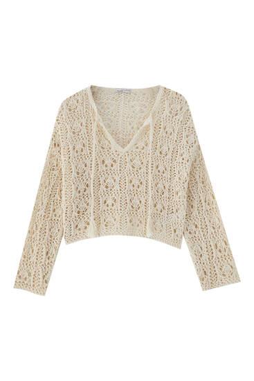 Hæklet sweater med hulmønster