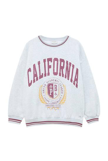 Sweat universitaire gris California