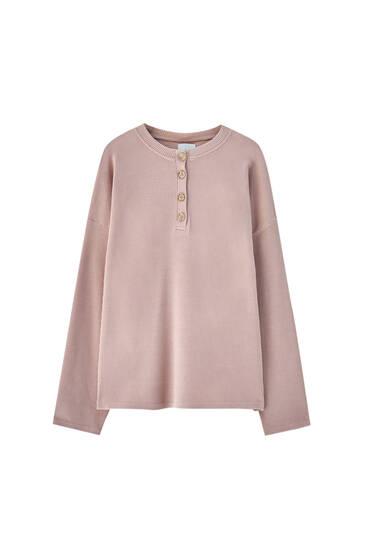 Check texture henley neck sweatshirt