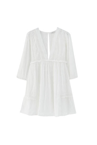 Flowing playsuit with lace trim