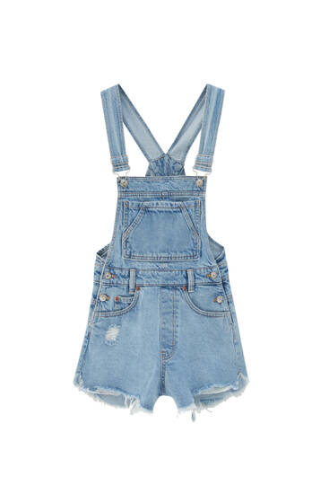 Short denim dungarees with pockets - ecologically grown cotton (at least 50%)