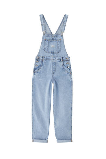 Long denim dungarees - at least 50% ecologically grown cotton