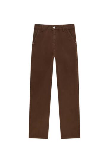 Low-waist straight-leg coloured jeans