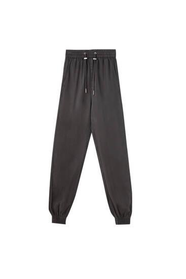 Calças jogger com cordão - 100% TENCELTM Lyocell