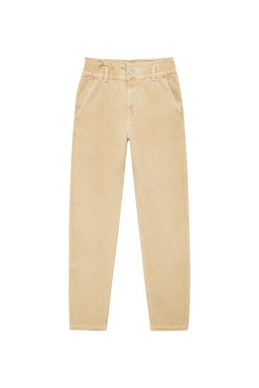 Paperbag trousers with an elastic waist