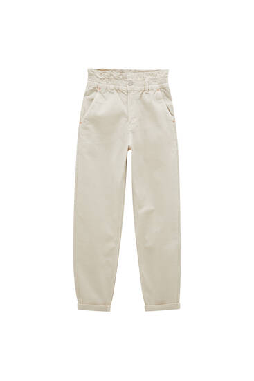 Paperbag trousers with elastic waistband - ecologically grown cotton (at least 65%)