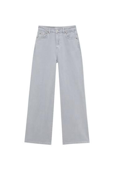 Coloured wide-leg jeans