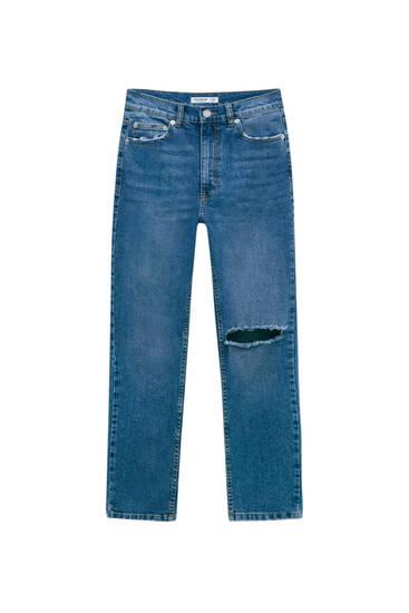 Slim fit mom jeans met superhoge taille - biologisch katoen (ten minste 50%)