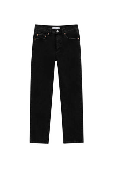 Super high-waisted slim fit mom jeans - ecologically grown cotton (at least 50%)