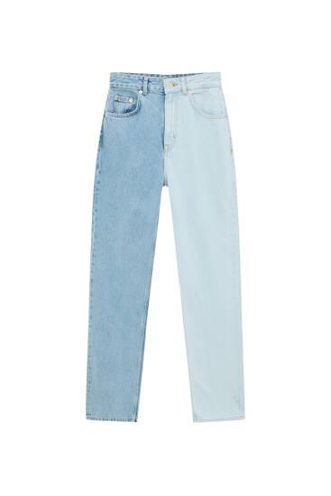 Straight fit colour block jeans