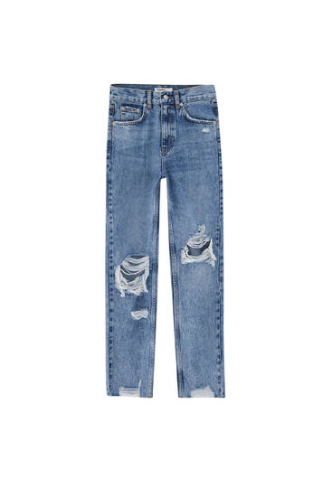 Mom fit jeans with ripped knees