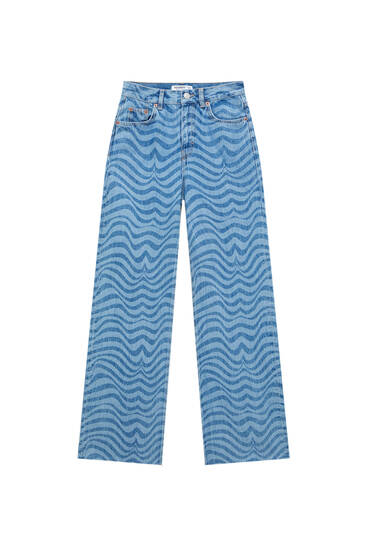 Straight-fit jeans with wavy print