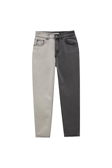Colour block mom jeans - ecologically grown cotton (at least 50%)