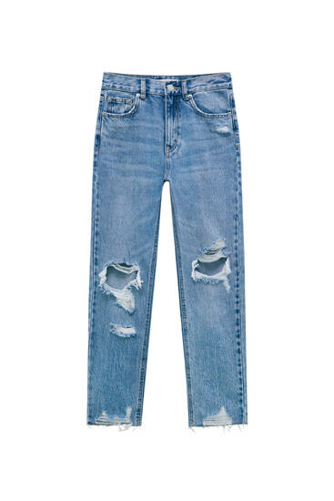 Mom jeans with ripped knees - ecologically grown cotton (at least 50%)