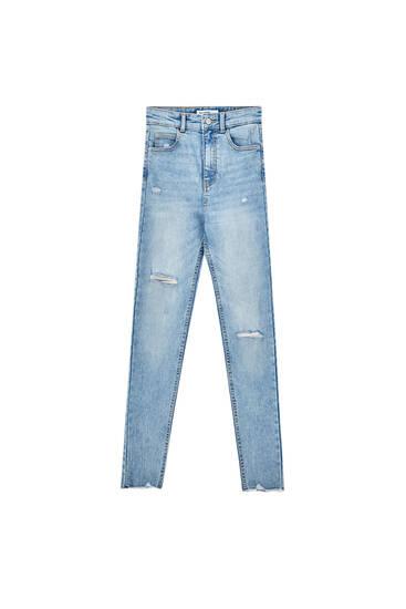 Ripped high-waist jeans