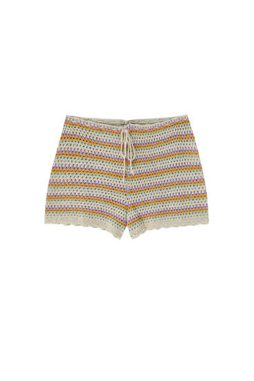 Striped crochet shorts with drawstring