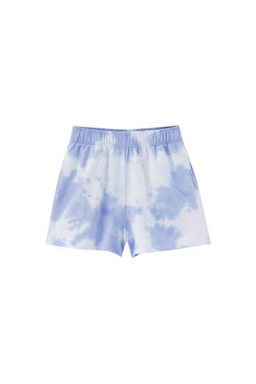 Faded-effect tie-dye shorts