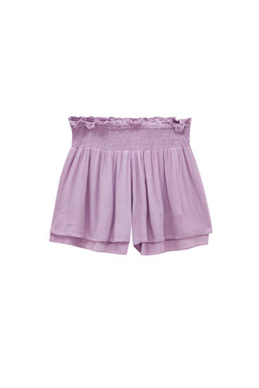 Crepe shorts with shirring - ECOVEROTM viscose (at least 50%)