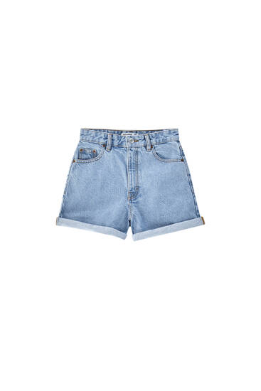 Denim shorts with turn-up hems - ecologically grown cotton (at least 50%)