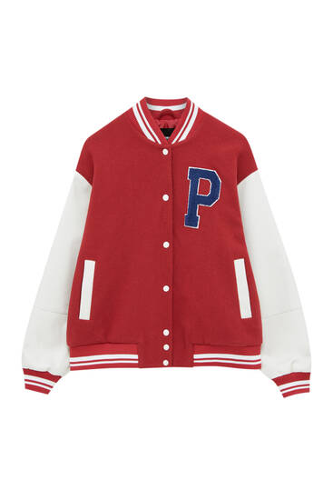 Varsity bomber jacket with contrast sleeves