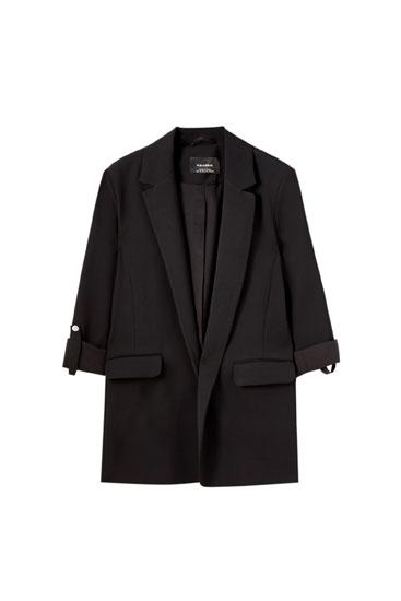 Basic rolled-up sleeve blazer