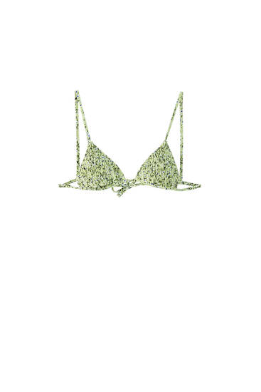 Smocked triangle bikini top - recycled polyester (at least 50%)