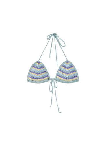 Striped crochet bikini top
