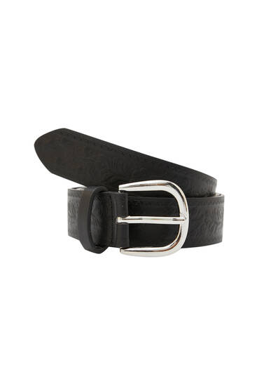 Embossed faux leather belt