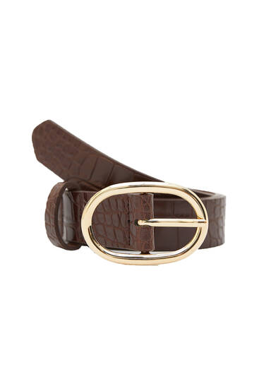 Brown belt with oval-shaped buckle
