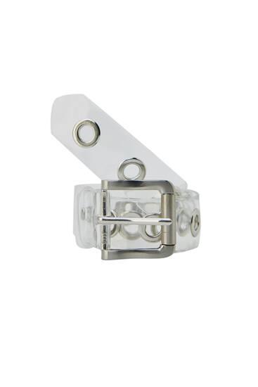 Transparent belt with a metallic buckle