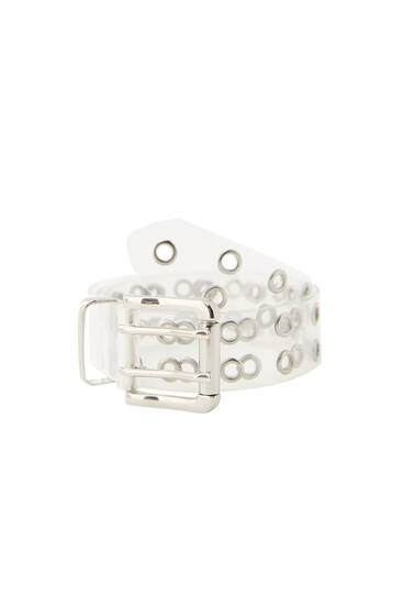 Transparent belt with perforations