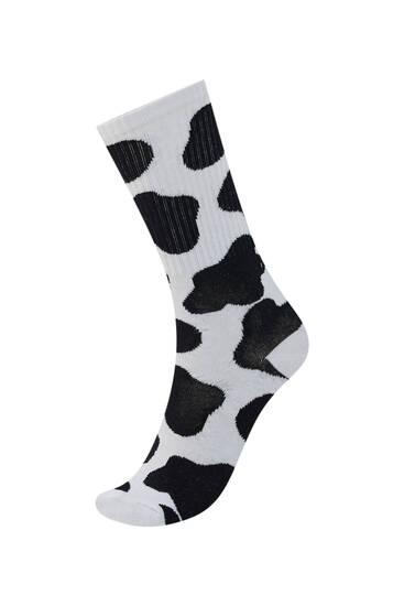 Cow print socks